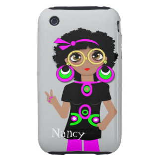 Fun Funky Psychedelic Hippy Chick iPhone 3 Tough Cases