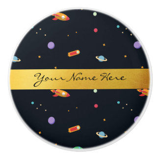 Fun Funky Retro Outer Space Rocket & Planets Ceramic Knob