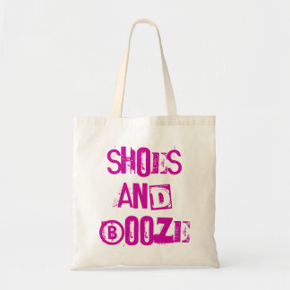 fun funky 'shoes & booze' reusable shopping bag