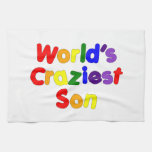 Fun Funny Humorous Sons : World's Craziest Son Hand Towel