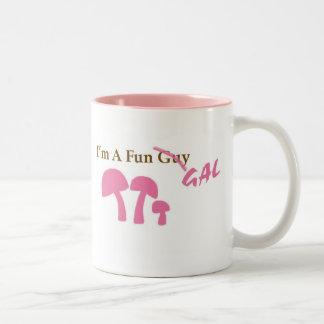 Fun Gal Pink mushies Two-Tone Coffee Mug