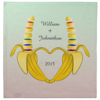 Fun Gay Banana Heart Wedding Favor Napkin