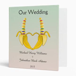 Fun Gay Banana Heart Wedding Planner Vinyl Binder