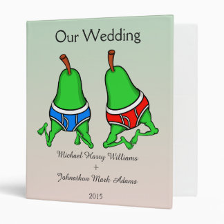 Fun Gay Pair of Pears Wedding Planner Binder