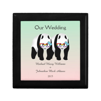 Fun Gay Panda Bears Wedding Keepsake Jewelry Box