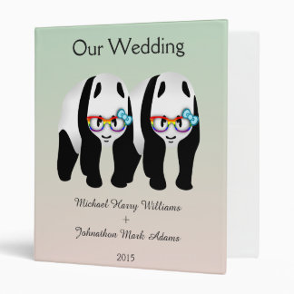 Fun Gay Panda Bears Wedding Planner 3 Ring Binder