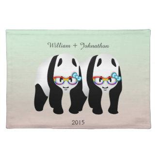 Fun Gay Pandas Bear Wedding Cloth Placemat