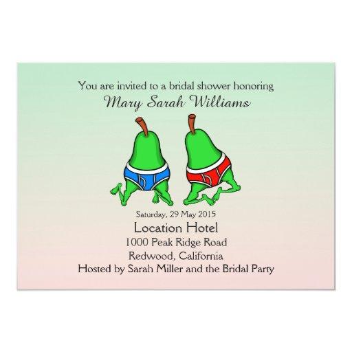 Fun gay pear bridal shower invitation zazzle for Gay wedding shower invitations