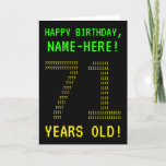"[ Thumbnail: Fun, Geeky, Nerdy ""71 Years Old!"" Birthday Card ]"