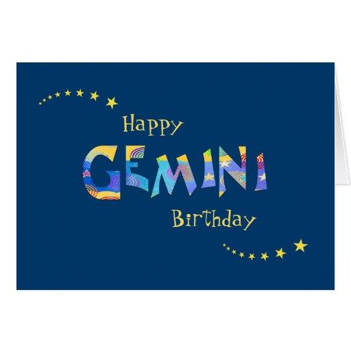 Fun GEMINI Zodiac Sign Birthday Greeting Card