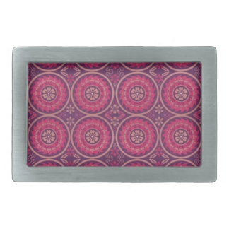 Fun Geometric Floral in Pink and Purple Rectangular Belt Buckle
