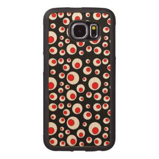 Fun Geometric Red Circles in White Circles Wood Phone Case