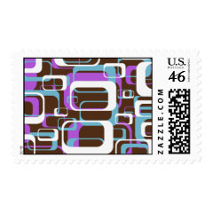 Fun Geometric Squares Purple Brown White Stamp