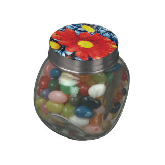 Fun Gerber Daisy Blue Orange Daisies Flower Jelly Belly Candy Jars