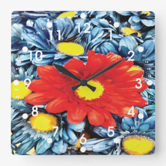 Fun Gerber Daisy Blue Orange Daisies Flower Square Wallclock