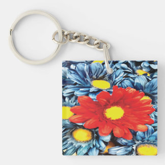 Fun Gerber Daisy Blue Orange Daisies Flower Keychain