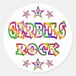 Fun Gerbils Rock Round Stickers