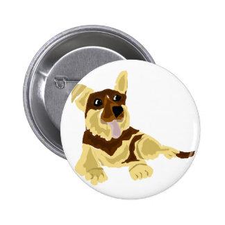 Fun German Shepherd Dog Art Button