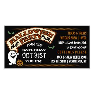 Fun Ghost Black & Orange Halloween Party Invite