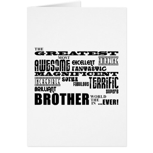 Fun Gifts for Brothers : Greatest Brother Stationery Note Card