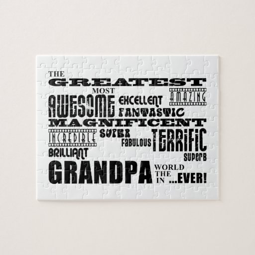 Fun Gifts for Grandfathers : Greatest Grandpa Jigsaw Puzzle