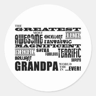 Fun Gifts for Grandfathers : Greatest Grandpa Round Sticker