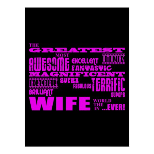 Fun Gifts for Wives : Greatest Wife Poster