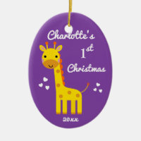 Fun Giraffe Baby's 1st First Christmas Gift Purple Ceramic Ornament