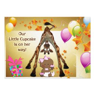 Fun Giraffe Ethnic Baby Girl Cupcakes Baby Shower Custom Invitations