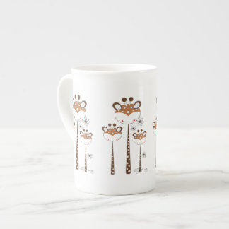 Fun Giraffes -- Brown Tea Cup