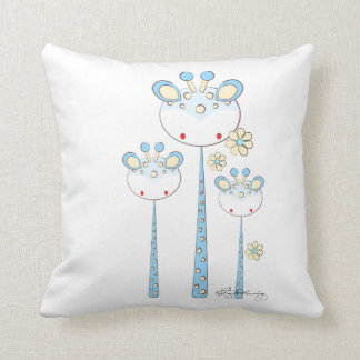 Fun Giraffes -- Light Blue Throw Pillow