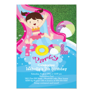 "Fun Girl Pool Birthday Party Invitation 5"" X 7"" Invitation Card"