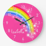 Fun Girls Kids Rainbow Name Pink Clock at Zazzle