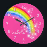"Fun girls kids rainbow name pink clock<br><div class=""desc"">Colourful kids girls pink and rainbow hues graphic wall clock. Customise with the name of your choice,  this example reads Isabella. Would be a great personalised addition to your child&#39;s bedroom. &#169; Art and design by Sarah Trett www.sarahtrett.com for www.mylittleeden.com</div>"