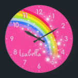 """Fun girls kids rainbow name pink clock<br><div class=""""desc"""">Colourful kids girls pink and rainbow hues graphic wall clock. Customise with the name of your choice,  this example reads Isabella. Would be a great personalised addition to your child&#39;s bedroom. &#169; Art and design by Sarah Trett www.sarahtrett.com for www.mylittleeden.com</div>"""