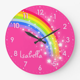 Fun girls kids rainbow name pink clock