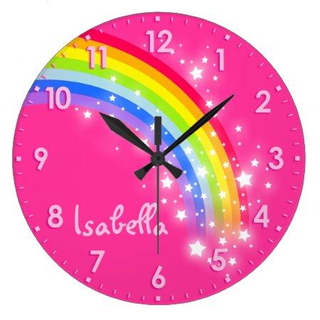 Fun Girls Kids Rainbow Name Pink Clock