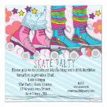 "Fun girls Roller Skating birthday party invitation 5.25"" Square Invitation Card"