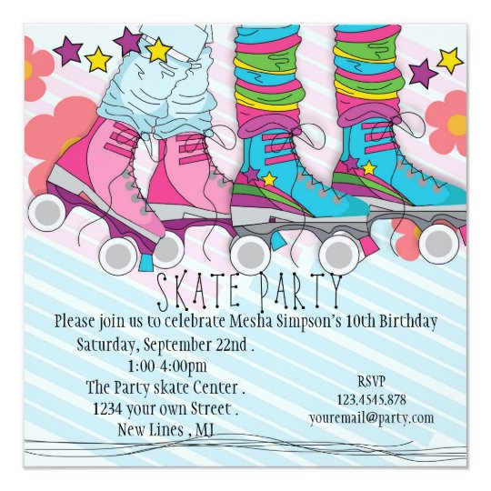 Fun girls roller skating birthday party invitation zazzle fun girls roller skating birthday party invitation filmwisefo