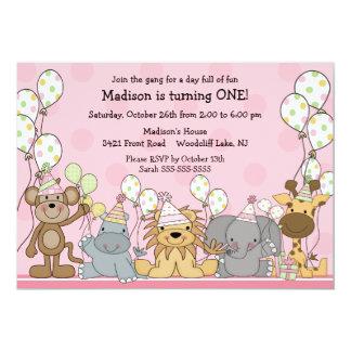 Fun Girls Safari Animals Birthday Card