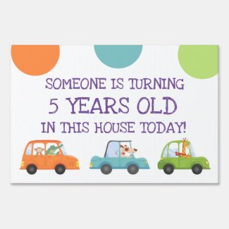 Fun Girls Safari Animals In Cars Birthday Party Sign