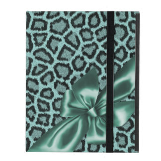 Fun Girly Aqua Leopard Print iPad Cover