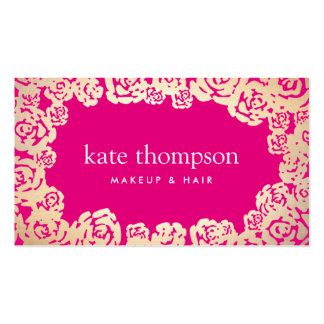 Fun Girly Gold Roses Hot Pink Floral Beauty Business Card