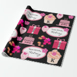 "Fun & Girly Personalized Name & Age Birthday Wrapping Paper<br><div class=""desc"">Add a personal touch to your gift giving.  A super fun & girly wrapping paper with pink balloons,  flowers,  butterflies and cakes with name and age personalization.</div>"