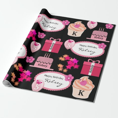 Fun & Girly Personalized Name & Age Birthday Wrapping Paper