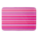 [ Thumbnail: Fun, Girly Pink and Purple Stripes Pattern Bath Mat ]
