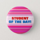 [ Thumbnail: Fun, Girly Pink and Purple Stripes Pattern Button ]