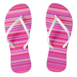 [ Thumbnail: Fun, Girly Pink and Purple Stripes Pattern Flip Flops ]