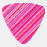 [ Thumbnail: Fun, Girly Pink and Purple Stripes Pattern Guitar Pick ]