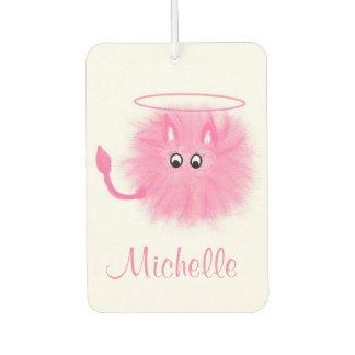 Fun Girly Pink Fluffy Cute Cartoon Saint or Sinner Car Air Freshener